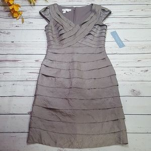 NWT London Times Gray/Silver Ruffled V-neck Dress
